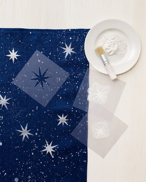 Cosmos Cloth Table Runner, Martha Stewart.  How-to includes free stencil pattern.