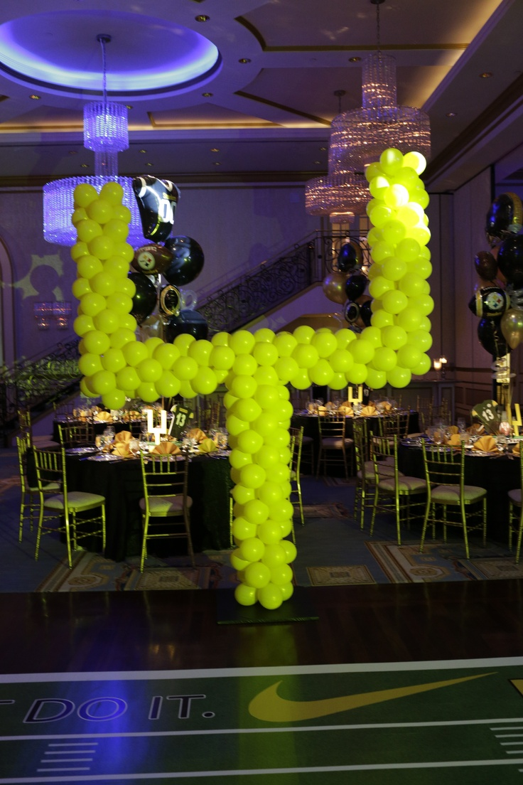 Field Goal post made out of yellow balloons for Pittsurgh Steelers theme Bar Mitzvah at Event Venue-The Grove Wedding venue New Jersey, catering hall New Jersey, banquet hall New Jersey, Galas NJ, Corporate NJ,Bat Mitzvah NJ, Bar Mitzvah NJ, Kosher NJ, Glatt Kosher NJ,   www.thegrovenj.com
