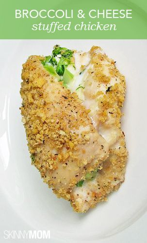 I probably wouldn't do the breadcrumbs and I would use regular cheese.. But yum! Broccoli and cheese stuffed chicken! YUM!