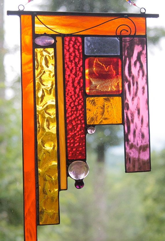 Stained Glass Panel, Window,Sun Catcher,Fused Glass, Suncatcher, Beach Glass…