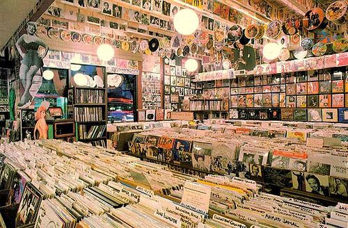 Record stores are cool, no doubt about it, but I'm happy not having to go to one and get my music online. ||| The only thing better than a bookstore, a record store!