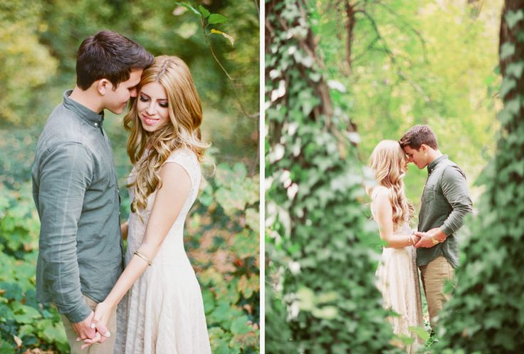 cute couples pose in the forest