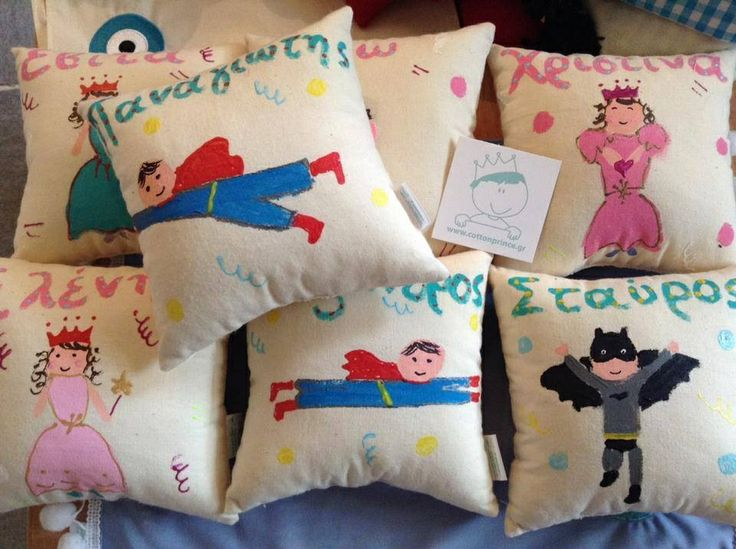 party favors by cottonprince.gr personalised hand painted vanilla cushions!!