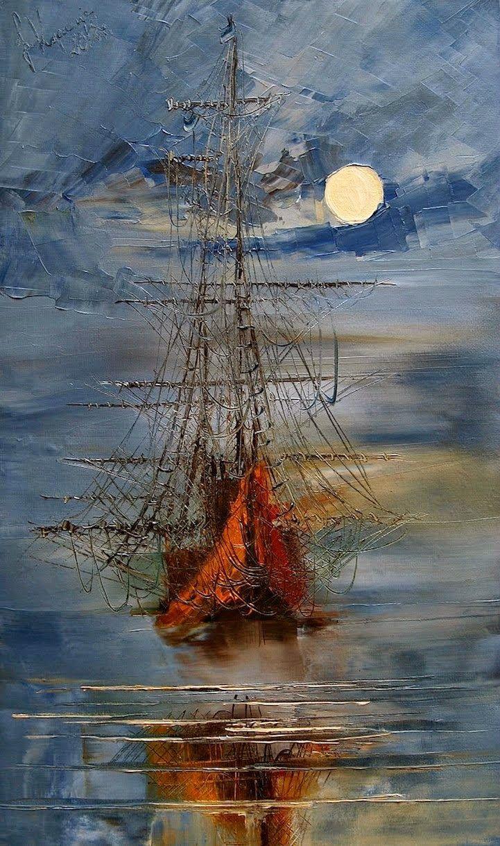 Justyna Kopania.Bellas pinturas al óleo con espátula