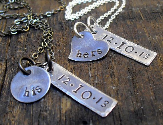 Personalized couples necklace set anniversary gift for Couples matching jewelry sets