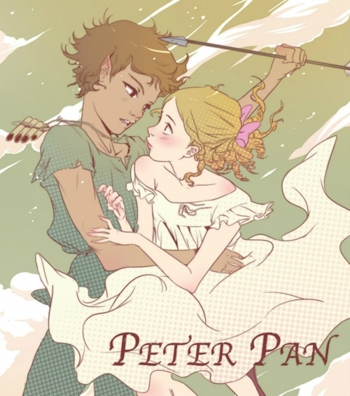 In this cute anime wallpaper, we see Peter Pan with Wendy. He just has saved Wendy.