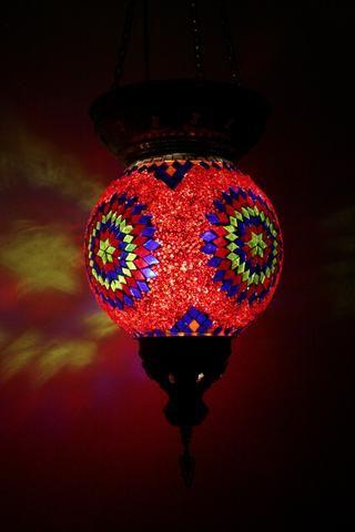 Round Turkish Mosaic Hanging Lantern