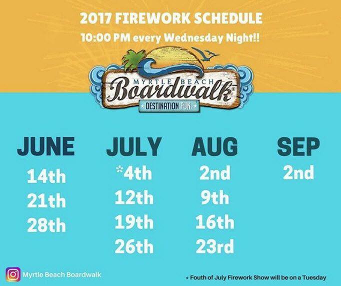 2017 Firework Schedule | Myrtle Beach Boardwalk | Myrtle Beach | South Carolina