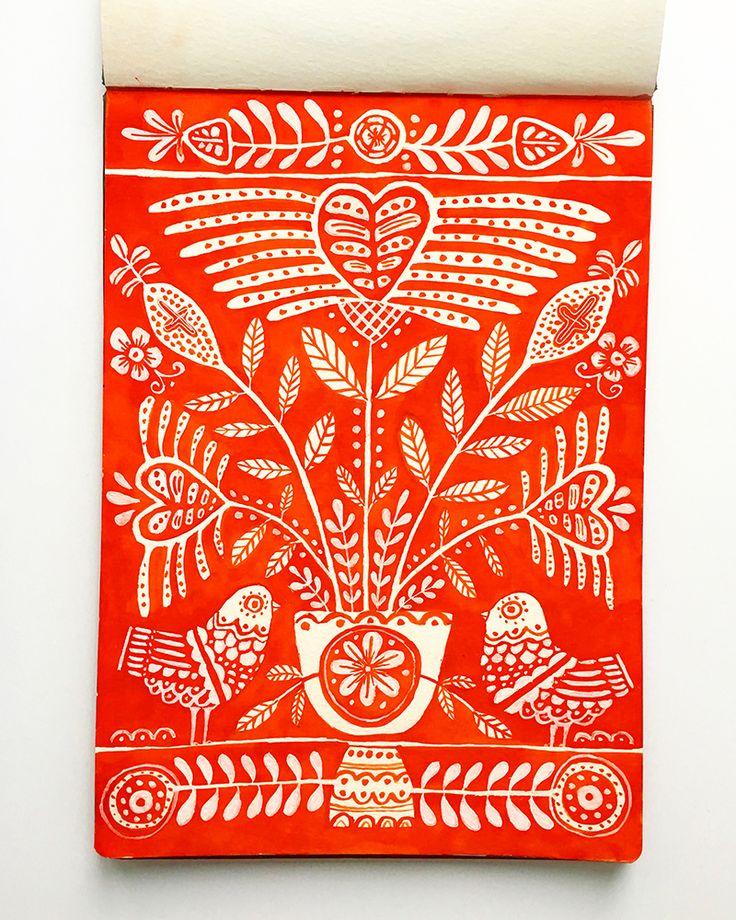 German Folk Inspired Sketchbook Drawing by Lisa Congdon