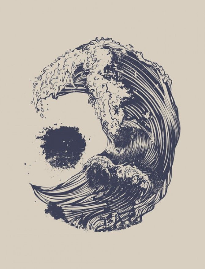 Tattoo of a wave that looks like the moon and sun, be cute on the back of neck