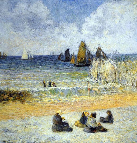Paul Gauguin - Post Impressionism - La plage à Dieppe - Beach in Dieppe - 1885