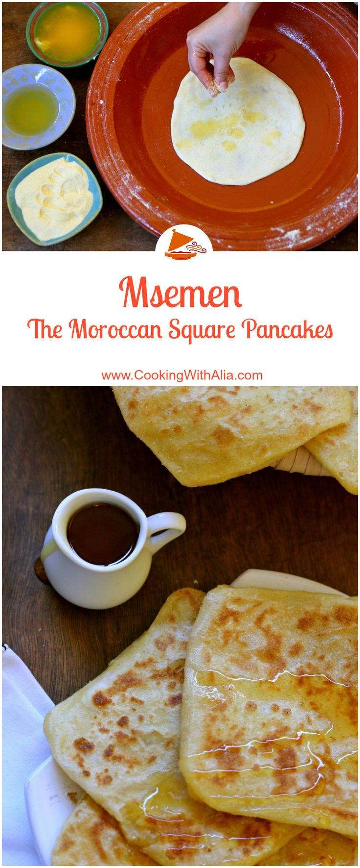 Msemen, also called Rghaif, are square flat Moroccan pancakes. If you visit Morocco, it is guaranteed that you will be served these pancakes for breakfast with a side of butter and honey. With a crispy outside and chewy inside, these pancakes have the perfect texture combination. Practice is required to get the right texture of the dough, so give it a try a few times and don't give up, because the result is to die for! You can order my book here: www.amazon.com #Morocco_cuisine…