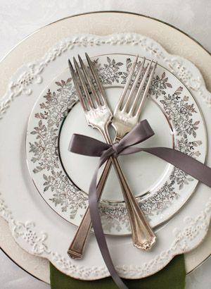sweet engraved forks | Nancy Ray #wedding