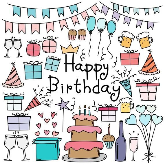Hand Drawn Doodle Happy Birthday Clipart Happy Birthday Clipart Party Clipart Doodle Art Clipart Vector Files Digital Download Clipart Birthday Doodle Happy Birthday Doodles Happy Birthday Art