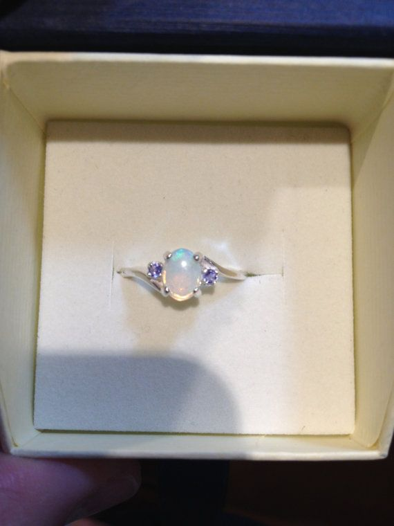 Australian Opal Ring  Crystal/White Opal and Tanzanite  by drlmm, $89.00