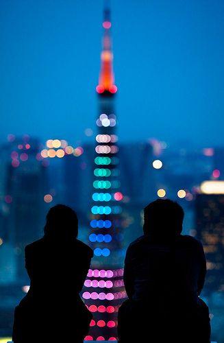 Tokyo Tower lights, Japan.