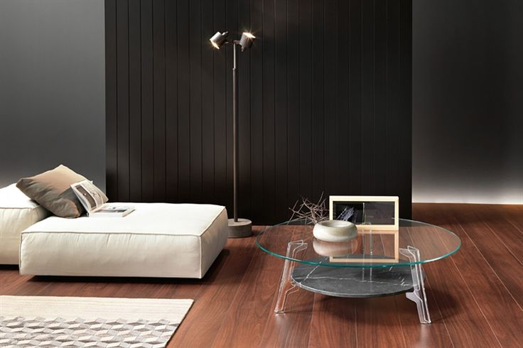 GlazenDesignTafel.nl | FIAM Stijlvolle glazen salontafel Flute met een marmer tussenplank | vidre glastoepassingen |