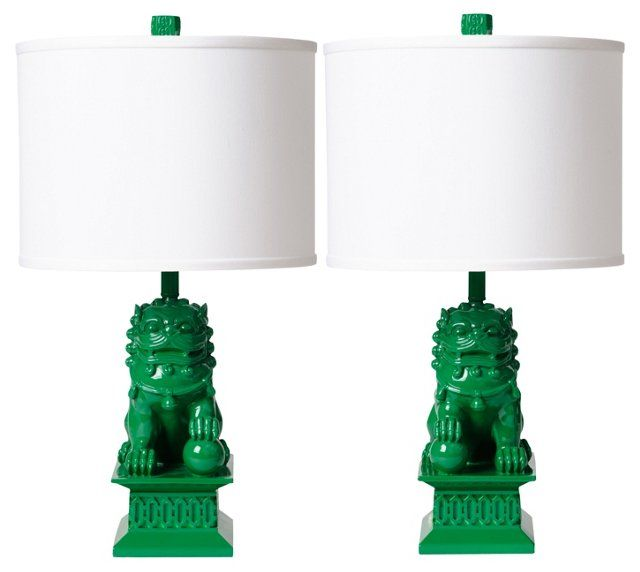 Kelly Green Foo Dog Table Lamp, Pair