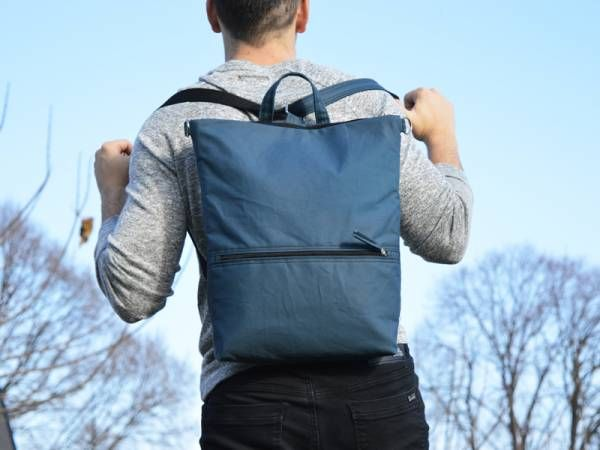 Denim Blue Waxed Canvas Backpack