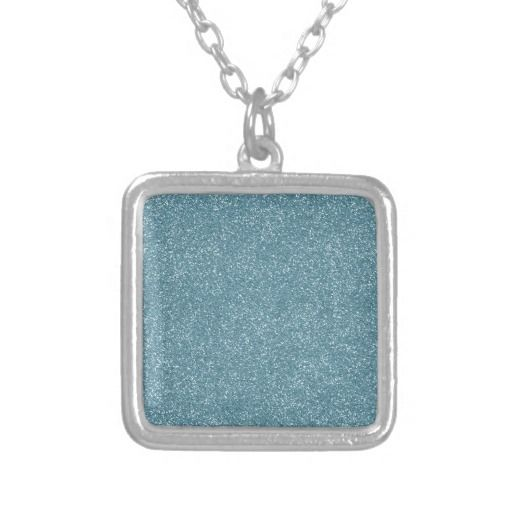 PANTONE Aquamarine baby blue with faux Glitter Personalized Necklace