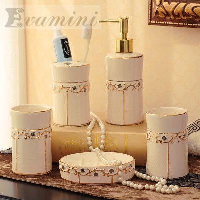 China Ceramic Bathroom Set Five Piece Of Bathroom Fashion Modern Toothbrush Holder Bathroom Accessories