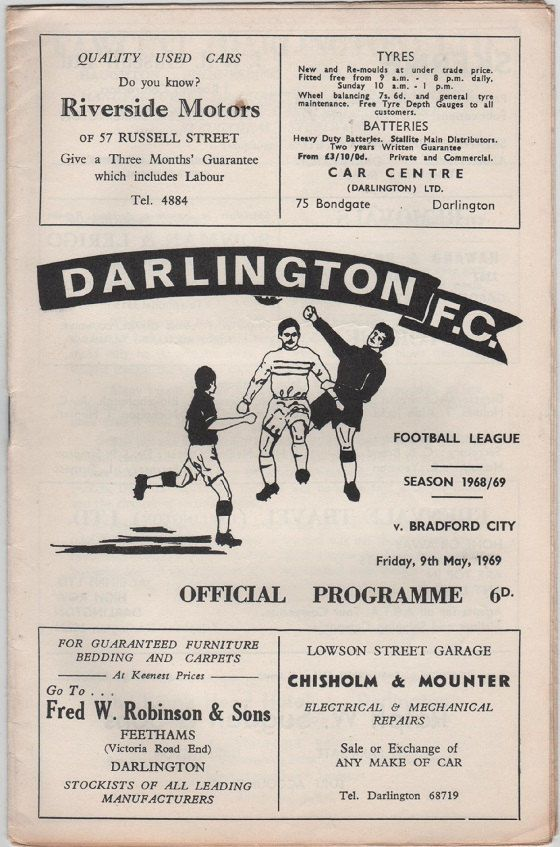 Vintage Football Programme - Darlington v Bradford City, 1968/69 season, by DakotabooVintage, £3.99