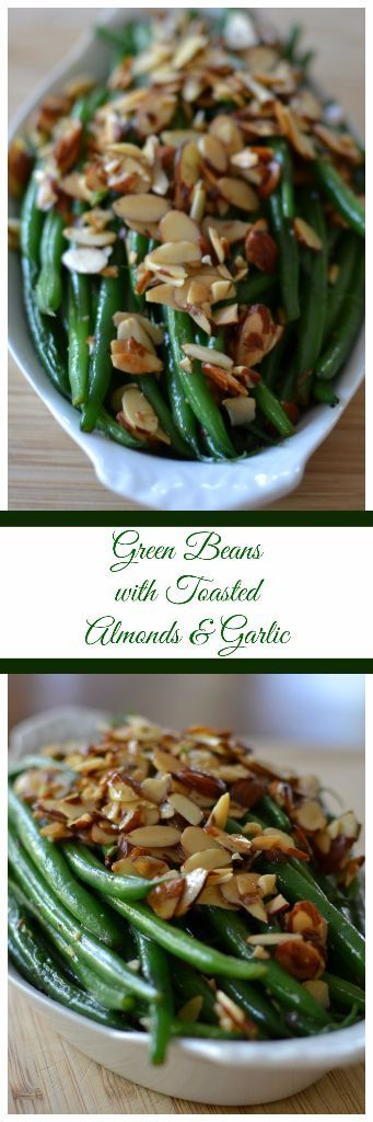Green Beans with Toasted Almonds and Garlic combines french style green beans, toasted almonds, fresh minced garlic and fresh lemon juice into an amazing accompaniment for chicken, fish, beef or pork.