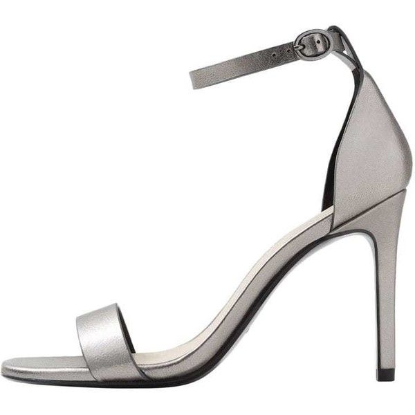 Metallic Ankle-Cuff Sandals (680 MXN) ❤ liked on Polyvore featuring shoes, sandals, dark silver, stiletto sandals, silver stilettos, silver high heel sandals, metallic shoes and metallic sandals