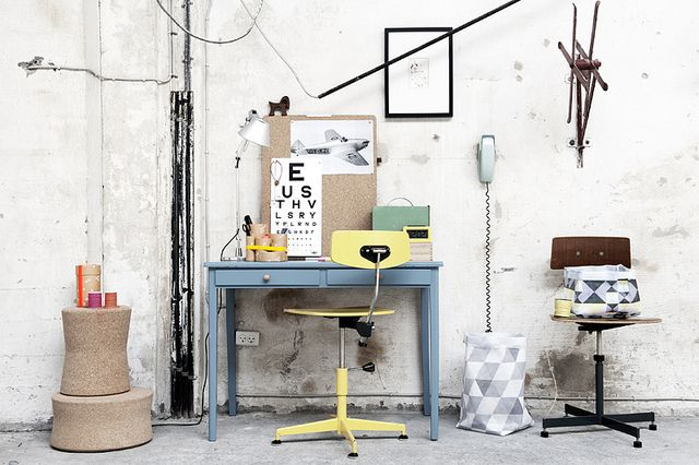 oyoy via AMM blog: Work Area, Workspaces Offices, Crafts Rooms, Interiors Design, Simple Workspaces, Work Spaces, Blue Yellow, Oyoy Livingdesign, Pastel Workspaces