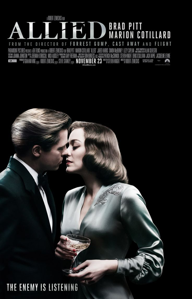 Allied (NOV 23) R  -  In 1942, an intelligence officer in North Africa encounters a female French Resistance fighter on a deadly mission behind enemy lines. When they reunite in London, their relationship is tested by the pressures of war.  -    Director: Robert Zemeckis  -   Writer: Steven Knight  -   Stars: Brad Pitt, Vincent Ebrahim, Xavier De Guillebon  -  ACTION / DRAMA / ROMANCE
