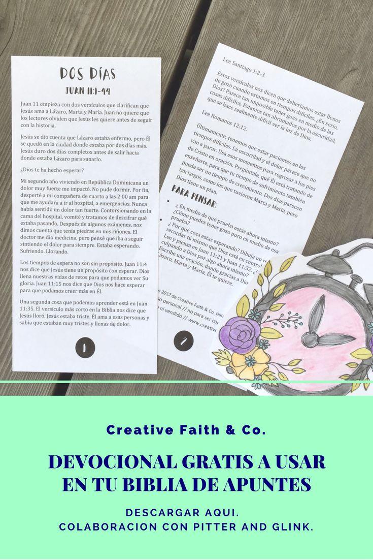 Descargar ese devocional gratis para usar en tu Biblia de apuntes o Diario Biblico.  Colaboracion con Bethany de Pitter y Glink. #biblejournalingenespanol #yopintomibiblia #fecreativa #creativefaith