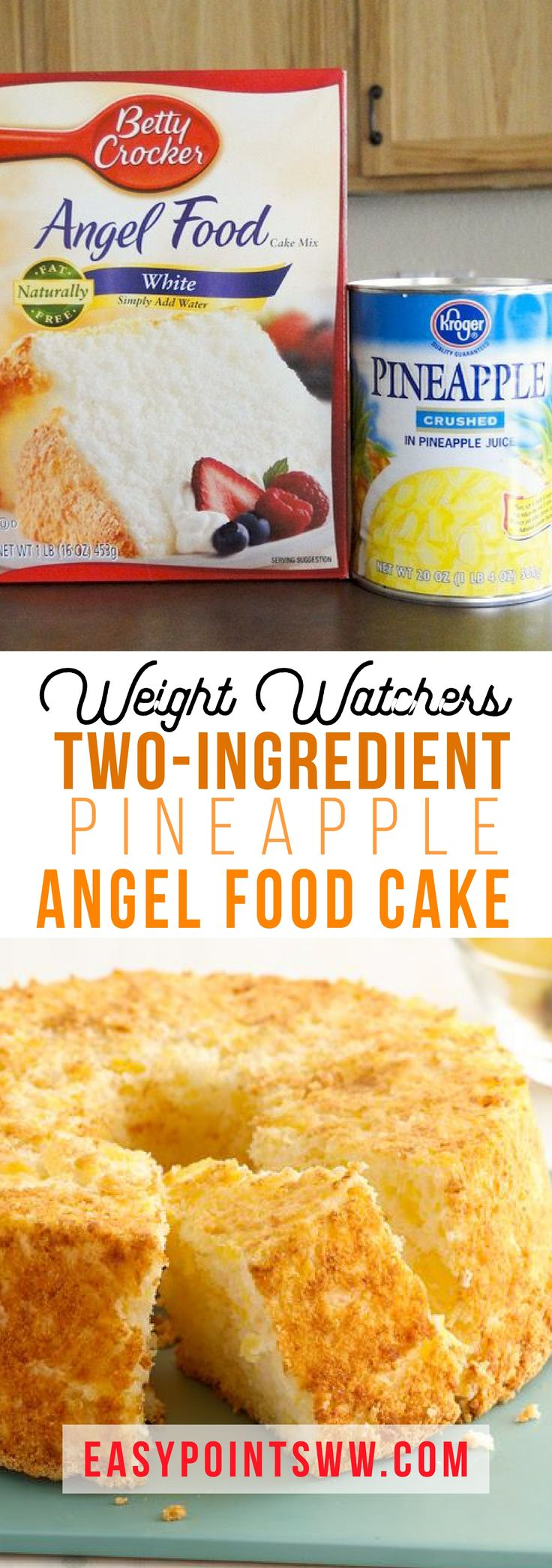 2-INGREDIENT WEIGHT WATCHERS PINEAPPLE ANGEL FOOD CAKE ♥