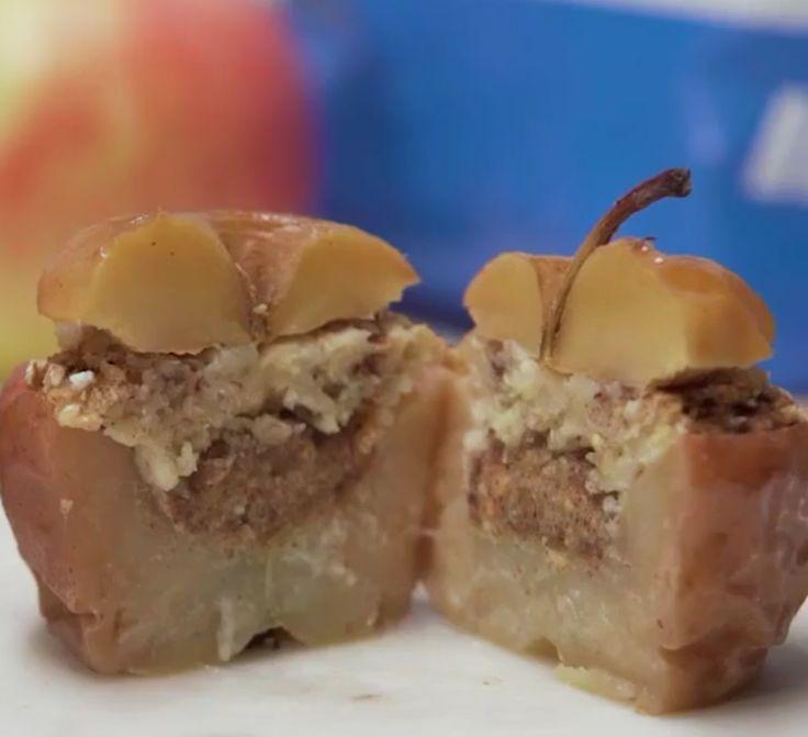 Γεμιστά μήλα με φυστικοβούτυρο, βρώμη και κανέλα.