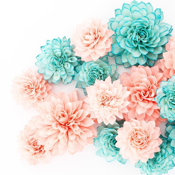 These 3 and 4 coral and teal wooden flowers are perfect for weddings, bridal shower or baby shower decor. Resembling a blooming Dahlia, these