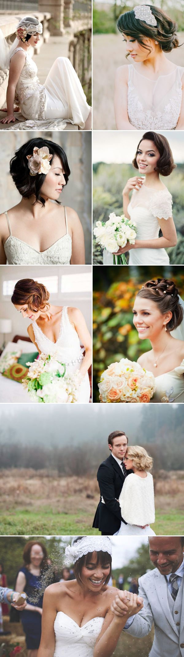 Vintage short hairstyles for wedding / http://www.deerpearlflowers.com/48-chic-wedding-hairstyles-for-short-hair/