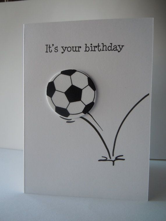 Soccer Ball Happy Birthday Handmade Greeting Card with white and black soccer…
