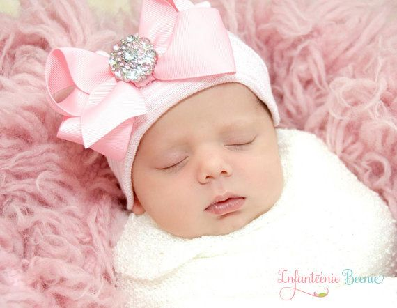 BABY BEANIE / Newborn Beanie / Girls Beanie / White and Pink Beanie with Bow/ Portait Hat/ Newborn Hospital Hat/ Girl Newborn/ Easter Baby on Etsy, $19.99