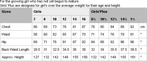 International Size Chart - Girls'/Girls'Plus