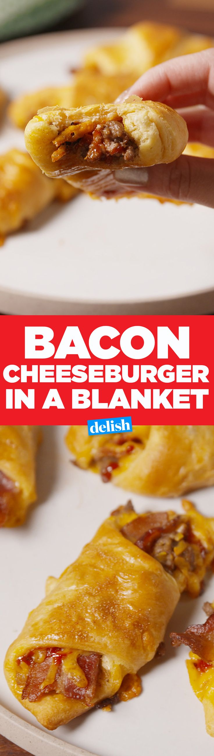 These Bacon Cheeseburgers In A Blanket will be gone before kickoff. Get the recipe from Delish.com.