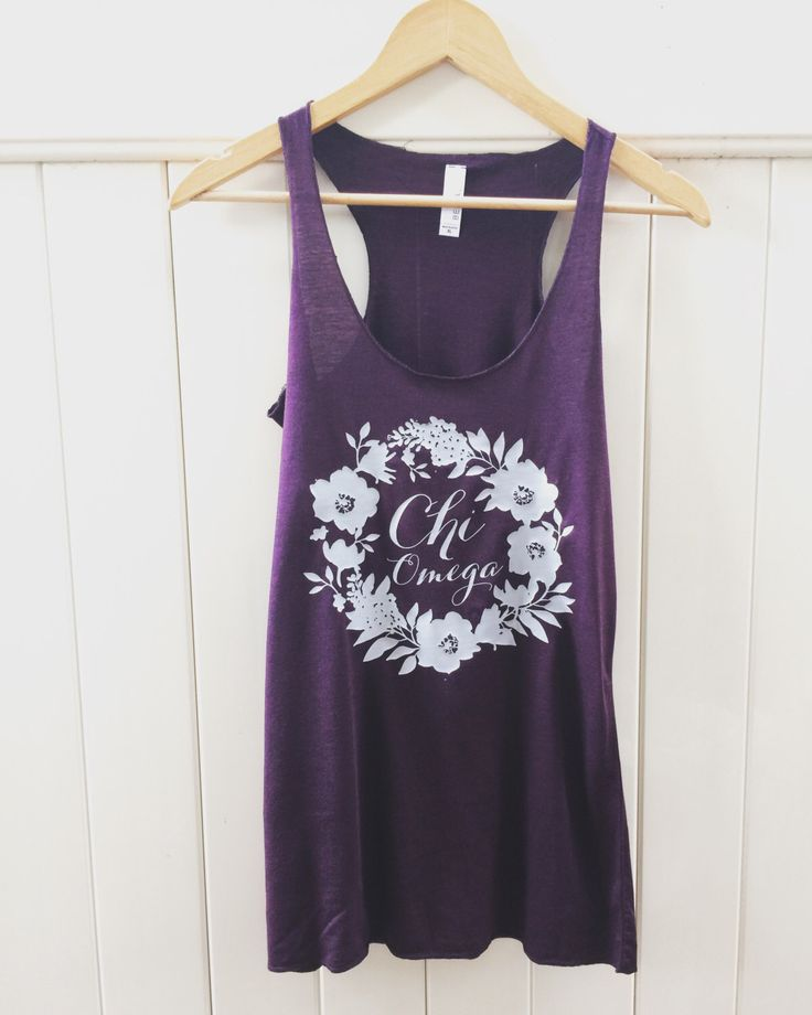 Chi Omega Floral Wreath Plum and Silver Tank Top Sorority Apparel by ShopAllieAnderson on Etsy https://www.etsy.com/listing/480280591/chi-omega-floral-wreath-plum-and-silver