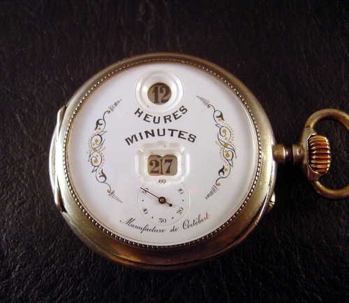 CORTEBERT DIGITAL JUMP HOUR & MINUTES SILVER POCKET WATCH 1890 S' PALLWEBER PAT.