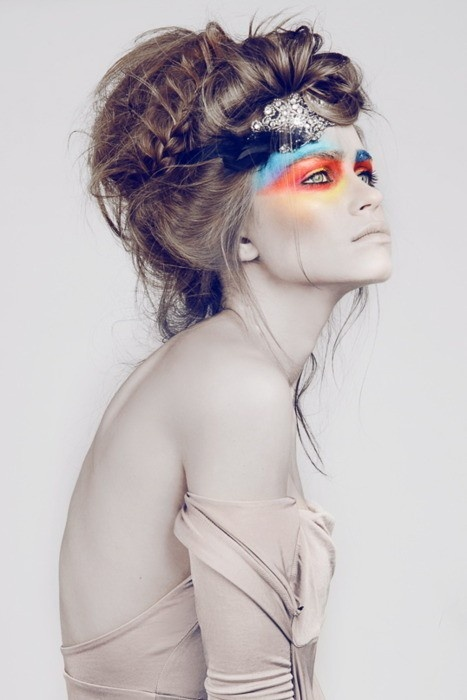 Focus mainly on make up. Blue, orange, sharp yellow hues. Love the colour contrast. #rasspface #makeup #beauty #editorial