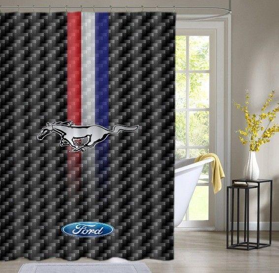 ford mustang classic logo custom shower