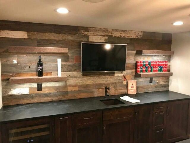 Bar Back Wall Planking With Walnut Floating Shelves Turned Out