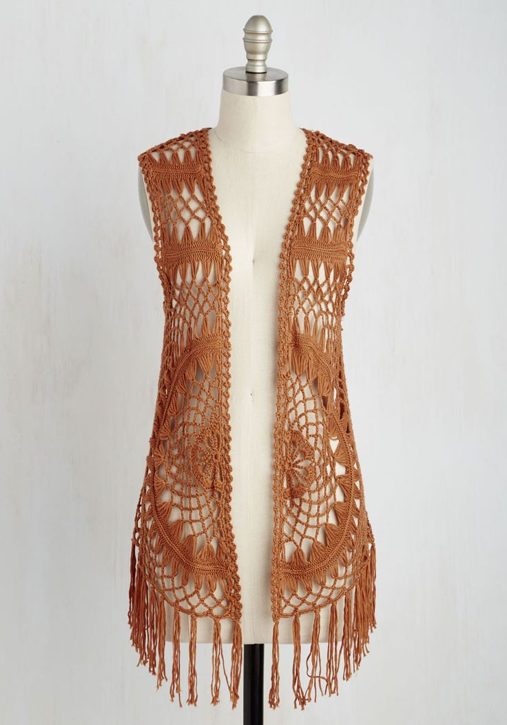 Peppy Escapades Vest. With this earthy orange vest on, theres no such thing as a bad mood!  #modcloth
