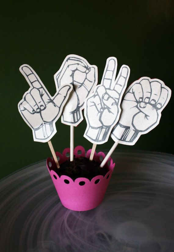 I Love You sign language toppers! IF you really want you could follow the link and buy it off Etsy OR look for a FREE printable!