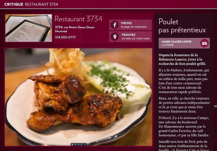 Restaurant 3734, poulet pas prétentieux - La Presse+