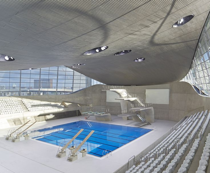 The London Aquatics centre, iconic modern concrete architecture design by Zaha…
