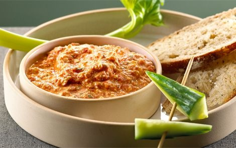 Haydari dip. Turkish dip made of red peppers and feta.