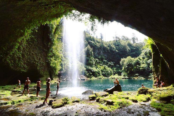 Omanawa Falls, New Zealand Instagram photo by @incredible_nz • #newzealandwaterfall